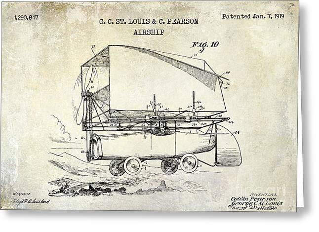 Vintage Aircraft Greeting Cards - 1919 Airship Patent Drawing Greeting Card by Jon Neidert