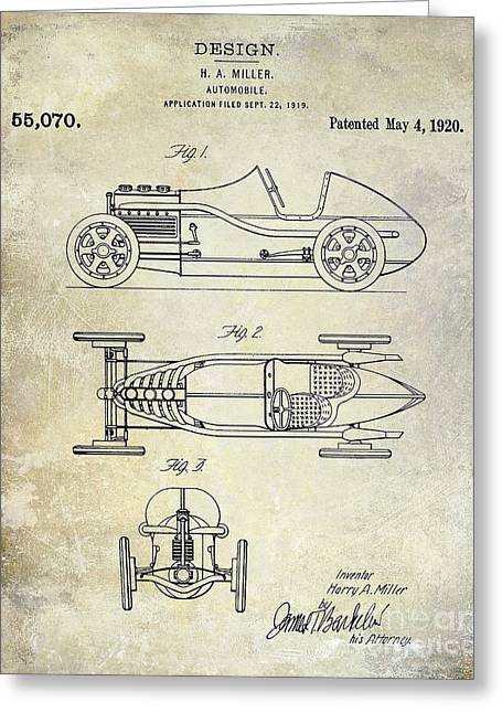 Fast Cars Greeting Cards - 1919 Automobile Patent Greeting Card by Jon Neidert