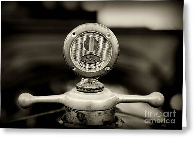 Ford Model T Car Greeting Cards - 1919 Ford Model T Hood Ornament in black and white Greeting Card by Paul Ward