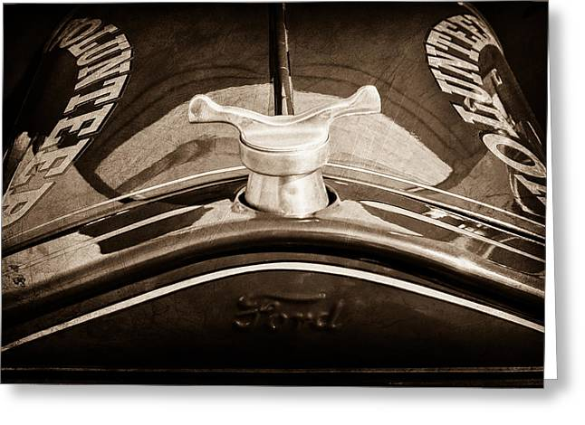 1919 Greeting Cards - 1919 Ford Volunteer Fire Truck Hood Ornament Greeting Card by Jill Reger