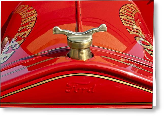 Collector Hood Ornament Greeting Cards - 1919 Ford Volunteer Fire Truck Greeting Card by Jill Reger