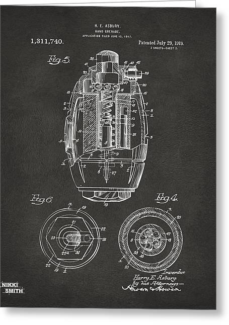 1919 Hand Grenade Patent Artwork - Gray Greeting Card by Nikki Marie Smith