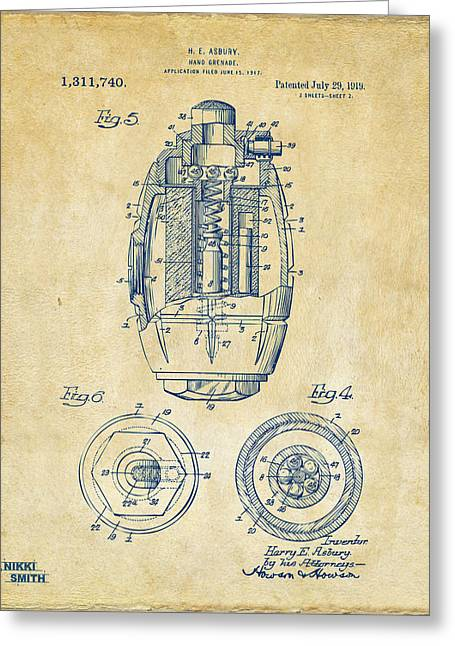 1919 Hand Grenade Patent Artwork - Vintage Greeting Card by Nikki Marie Smith