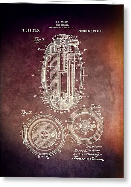 Bombs Mixed Media Greeting Cards - 1919 Hand Grenade Patent Greeting Card by Dan Sproul