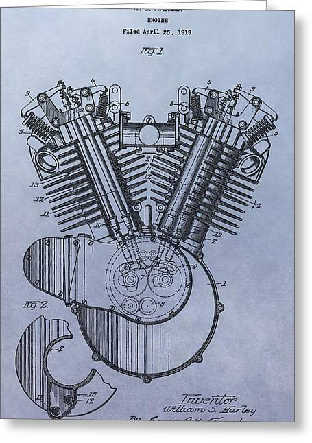 Mechanics Drawings Greeting Cards - 1919 Harley Davidson Engine Patent Greeting Card by Dan Sproul
