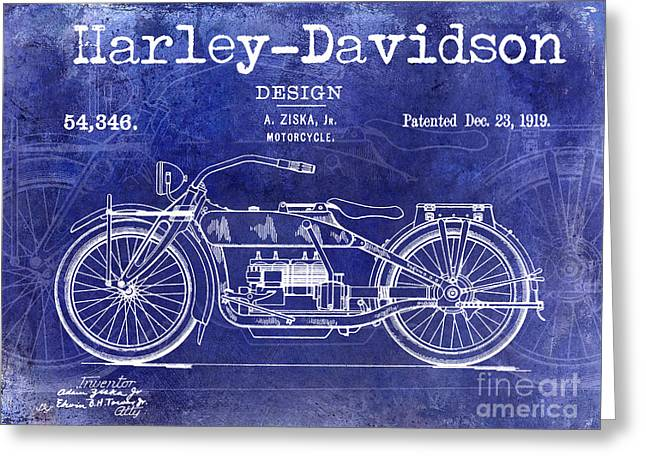 Hogs Greeting Cards - 1919 Harley Davidson Patent Drawing Blue Greeting Card by Jon Neidert