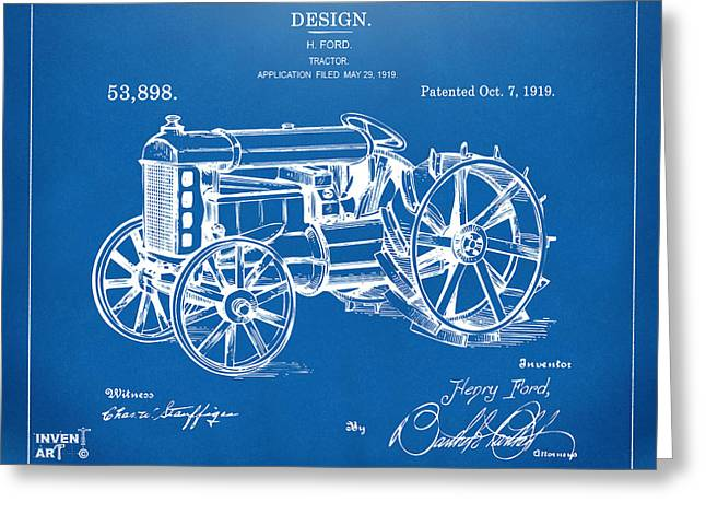 Conversations Greeting Cards - 1919 Henry Ford Tractor Patent Blueprint Greeting Card by Nikki Marie Smith