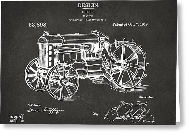Grey Fine Art Greeting Cards - 1919 Henry Ford Tractor Patent Gray Greeting Card by Nikki Marie Smith