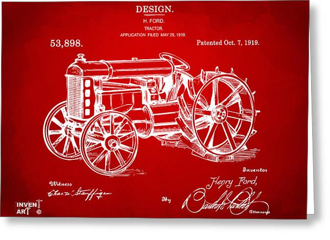 Conversations Greeting Cards - 1919 Henry Ford Tractor Patent Red Greeting Card by Nikki Marie Smith