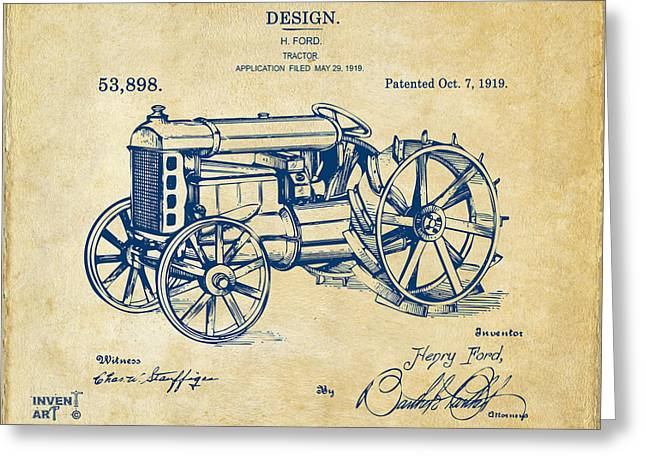 Patent Artwork Greeting Cards - 1919 Henry Ford Tractor Patent Vintage Greeting Card by Nikki Marie Smith