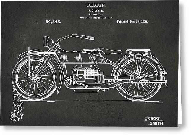 1924 Greeting Cards - 1919 Motorcycle Patent Artwork - Gray Greeting Card by Nikki Marie Smith