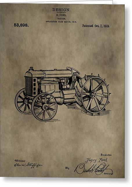 Henry Mixed Media Greeting Cards - 1919 Tractor Patent Greeting Card by Dan Sproul