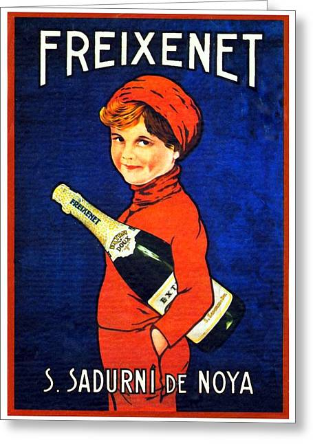 Sparkling Wines Digital Greeting Cards - 1920 - Freixenet Wines - Advertisement Poster - Color Greeting Card by John Madison
