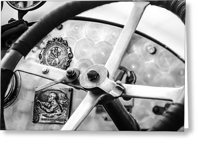 1920 Greeting Cards - 1920 Bugatti Type 13 Steering Wheel - Dashboard -1634bw Greeting Card by Jill Reger