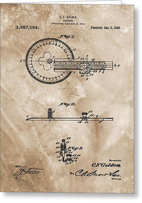 Gps Greeting Cards - 1920 Compass Patent Greeting Card by Dan Sproul