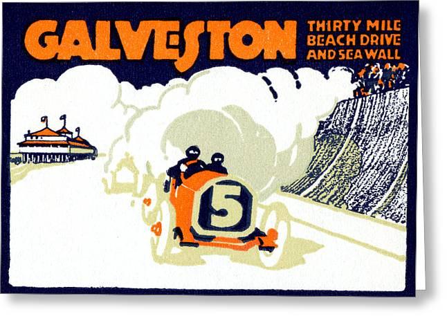 Galveston Paintings Greeting Cards - 1920 Galveston Texas Auto Race Greeting Card by Historic Image