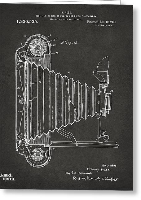 Art For Photographer Greeting Cards - 1920 Hess Camera Patent Artwork - Gray Greeting Card by Nikki Marie Smith