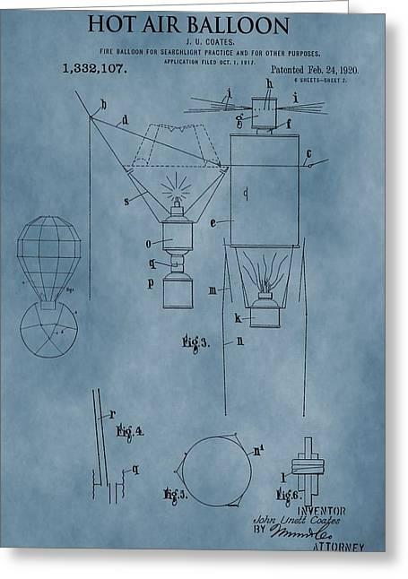Hot Air Balloon Mixed Media Greeting Cards - 1920 Hot Air Balloon Patent Blue Greeting Card by Dan Sproul