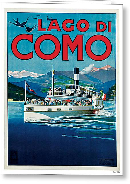 Old Country Roads Mixed Media Greeting Cards - 1920 Lago Di Como Vintage Travel Art  Greeting Card by Presented By American Classic Art