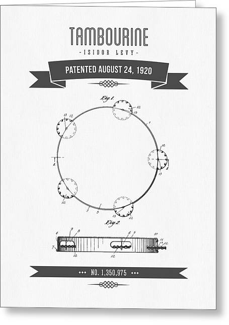 Instrument Mixed Media Greeting Cards - 1920 Levy Tambourine Patent Drawing Greeting Card by Aged Pixel