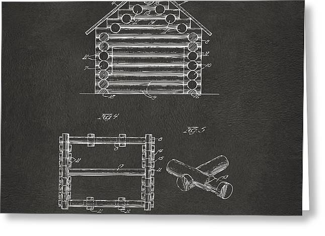 1920 Lincoln Log Cabin Patent Artwork - Gray Greeting Card by Nikki Marie Smith