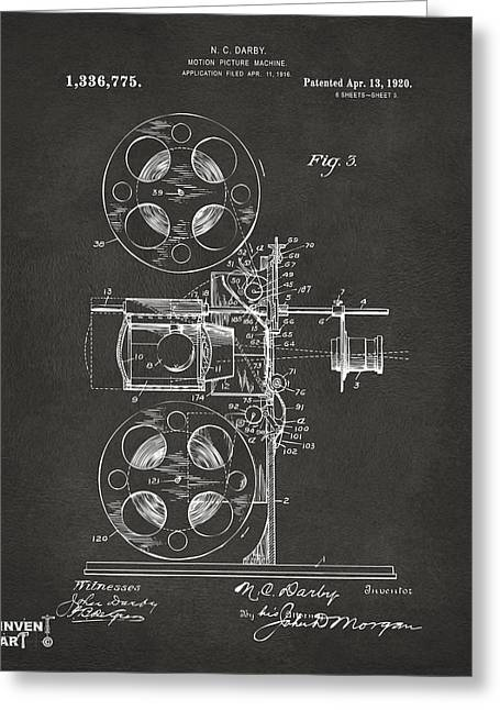 Motion Pictures Greeting Cards - 1920 Motion Picture Machine Patent Gray Greeting Card by Nikki Marie Smith