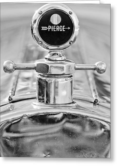 1920 Greeting Cards - 1920 Pierce-Arrow Model 48 Coupe Hood Ornament - Motometer Greeting Card by Jill Reger