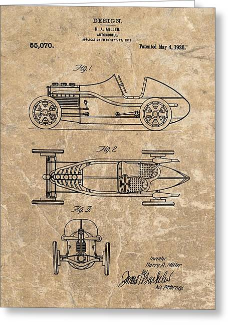Mechanics Mixed Media Greeting Cards - 1920 Roadster Patent Greeting Card by Dan Sproul