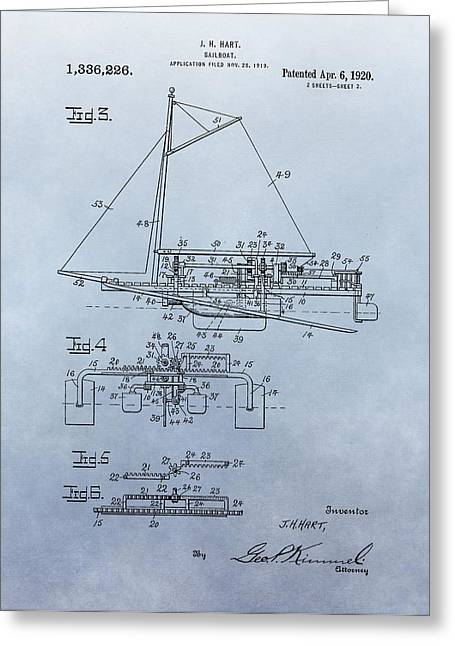 Sailer Greeting Cards - 1920 Sailboat Patent Greeting Card by Dan Sproul