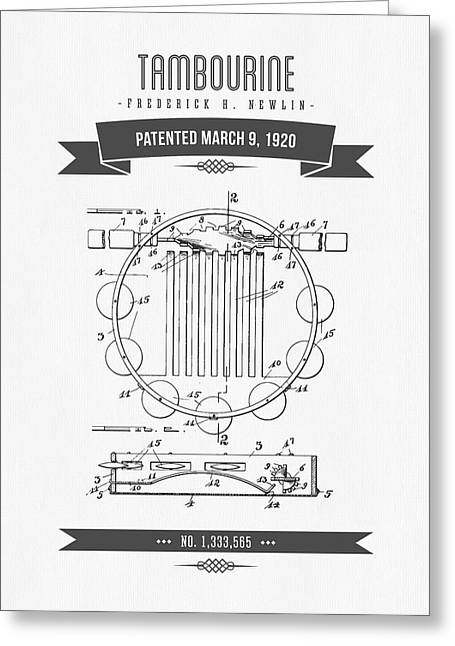 Instrument Mixed Media Greeting Cards - 1920 Tambourine Patent Drawing Greeting Card by Aged Pixel