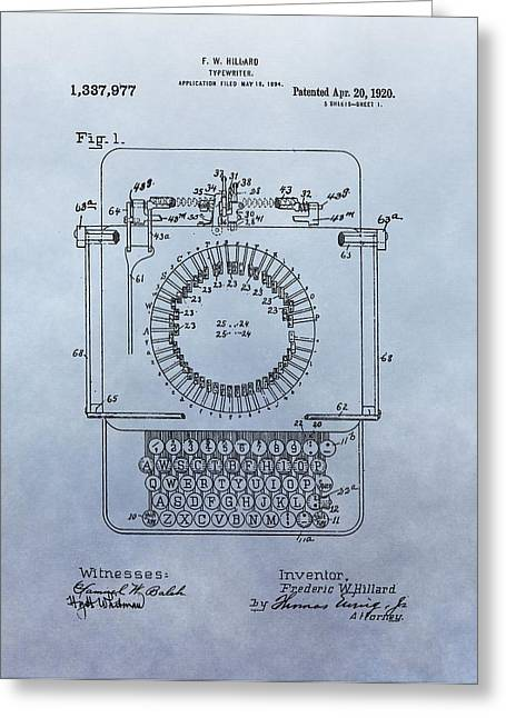 Typewriter Greeting Cards - 1920 Typewriter Patent Greeting Card by Dan Sproul