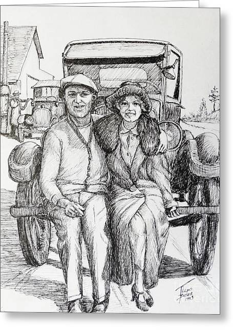 Ford Model T Car Drawings Greeting Cards - 1920s Couple Greeting Card by Art By - Ti   Tolpo Bader