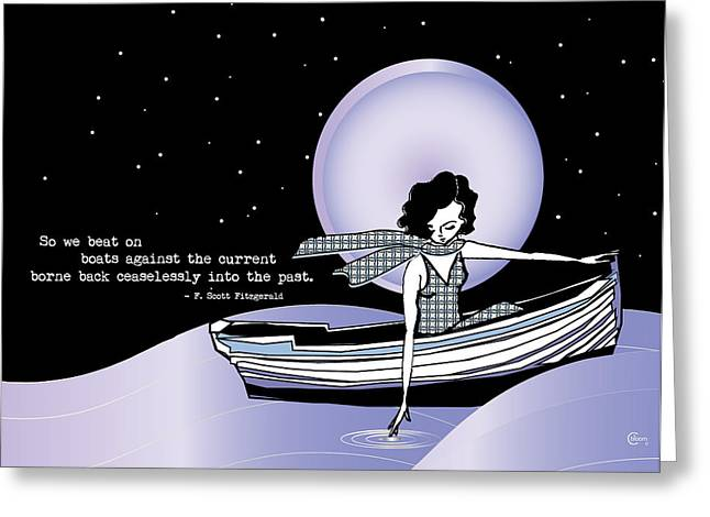 Recently Sold -  - Boats On Water Greeting Cards - 1920s Gatsby Girl Sailing with  F Scott Fitzgerald Quote  Greeting Card by Cecely Bloom