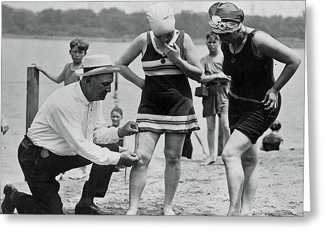 Jeff Taylor Greeting Cards - 1920s Officer Measuring Bathing Suits Greeting Card by Jeff Taylor