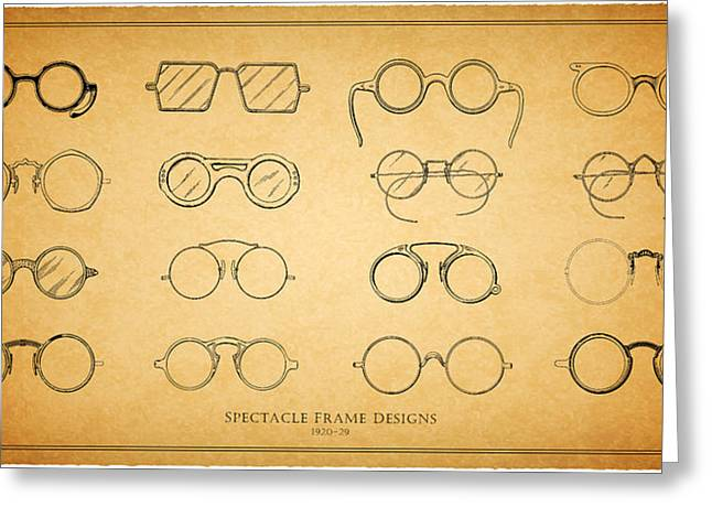 Eye Glasses Greeting Cards - 1920s Spectacle Designs Greeting Card by Mark Rogan