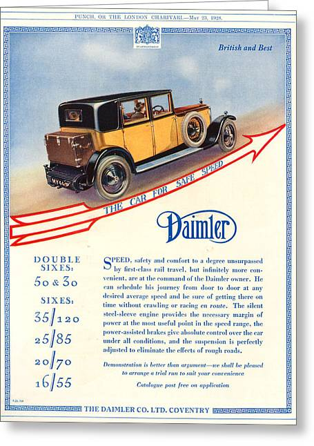 Driving Drawings Greeting Cards - 1920s Uk Daimler Magazine Advert Greeting Card by The Advertising Archives