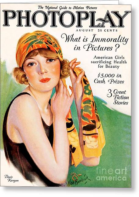 Magazine Cover Drawings Greeting Cards - 1920s Uk Photoplay Magazine Cover Greeting Card by The Advertising Archives