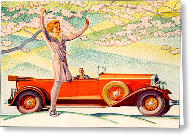 Franklin Drawings Greeting Cards - 1920s Usa Franklin Magazine Advert Greeting Card by The Advertising Archives