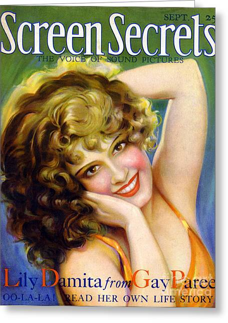 Cinema Drawings Greeting Cards - 1920s Usa Screen Secrets Magazine Cover Greeting Card by The Advertising Archives
