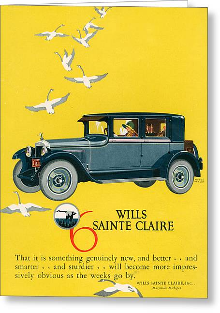Geese Drawings Greeting Cards - 1920s Usa Wills-sainte Claire Magazine Greeting Card by The Advertising Archives