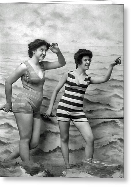 Jeff Taylor Greeting Cards - 1920s Vintage Bathing Beauties Greeting Card by Jeff Taylor