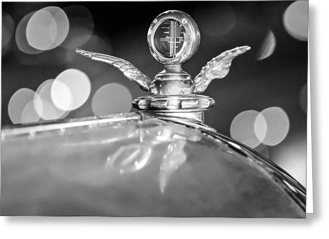 1921 Greeting Cards - 1921 Bentley Motometer Hood Ornament -0471bw Greeting Card by Jill Reger