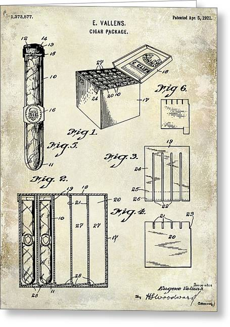 Cigar Greeting Cards - 1921 Cigar Package Patent Drawing  Greeting Card by Jon Neidert