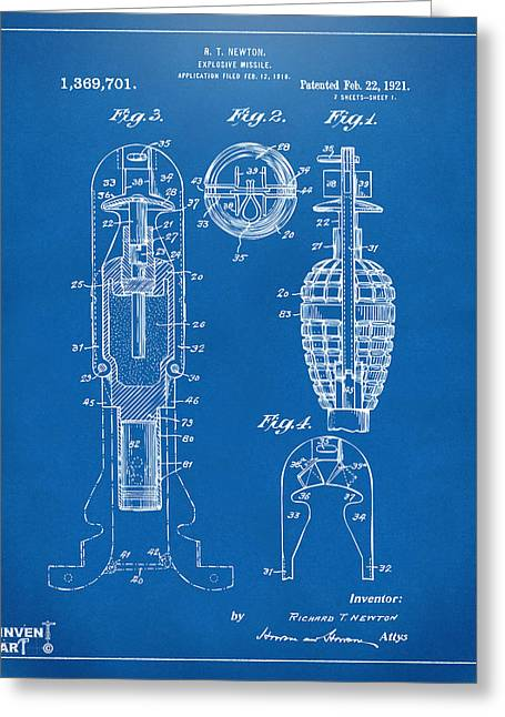Modern Warfare Greeting Cards - 1921 Explosive Missle Patent Blueprint Greeting Card by Nikki Marie Smith