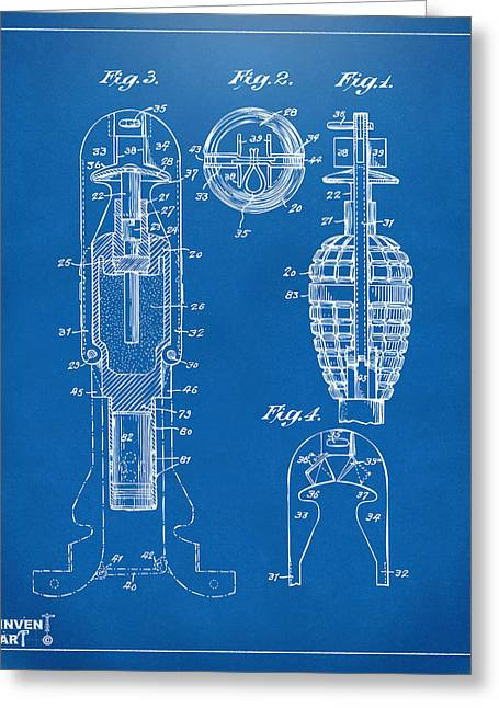 Modern Warfare Greeting Cards - 1921 Explosive Missle Patent Minimal Blueprint Greeting Card by Nikki Marie Smith