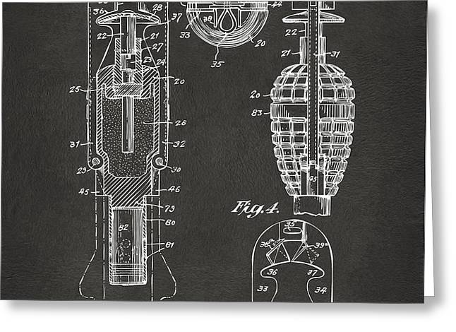 1921 Explosive Missle Patent Minimal Gray Greeting Card by Nikki Marie Smith