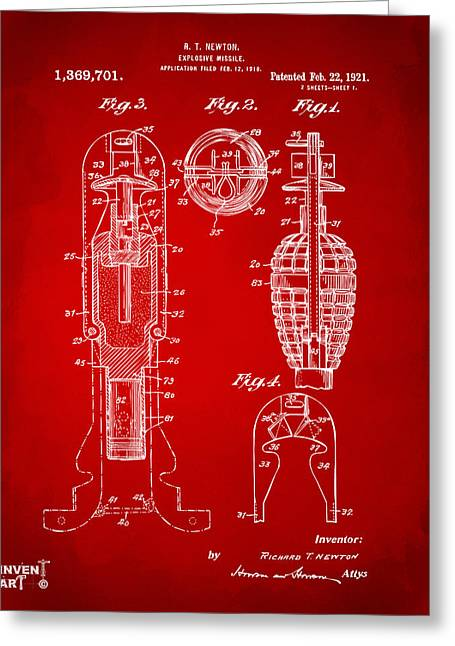 1921 Explosive Missle Patent Red Greeting Card by Nikki Marie Smith