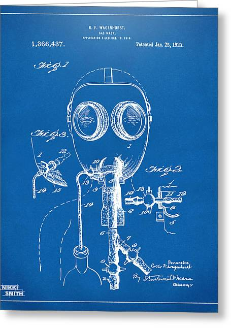 Goggle Greeting Cards - 1921 Gas Mask Patent Artwork - Blueprint Greeting Card by Nikki Marie Smith