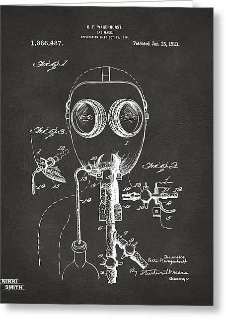 Mens Greeting Cards - 1921 Gas Mask Patent Artwork - Gray Greeting Card by Nikki Marie Smith