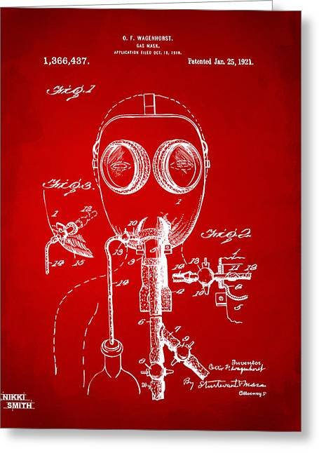 Goggle Greeting Cards - 1921 Gas Mask Patent Artwork - Red Greeting Card by Nikki Marie Smith